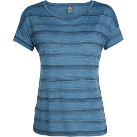 Icebreaker Via SS Scoop Shirt Women thunder heather/black/scratch stripe